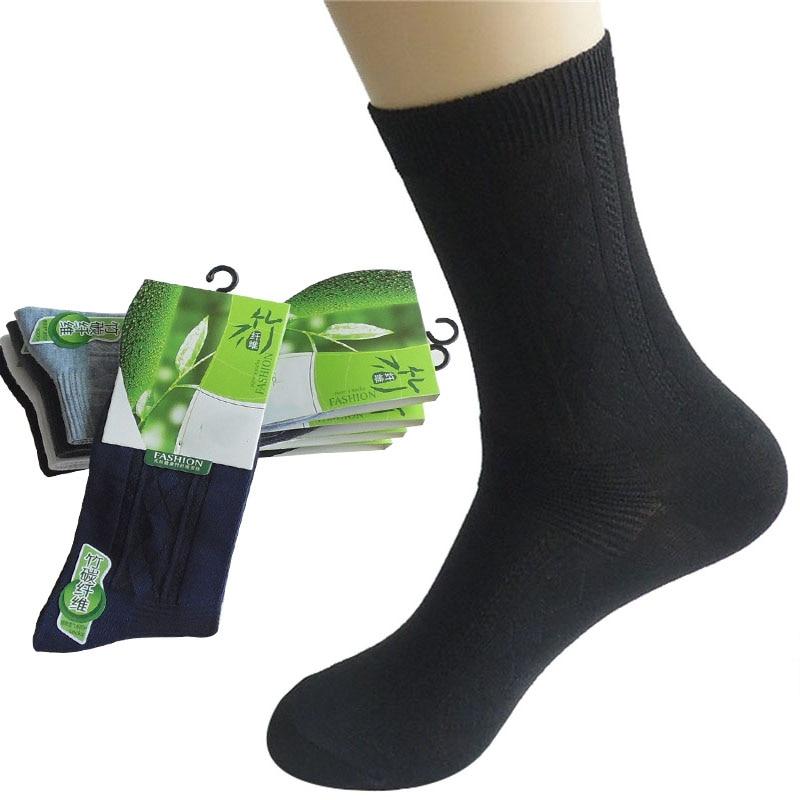 6 Pairs/lot Men's Socks Bamboo Fiber Anti-Bacteria Anti-odor Male Short Socks Men Solid Color Black Sock Meias Calcetines Hombre