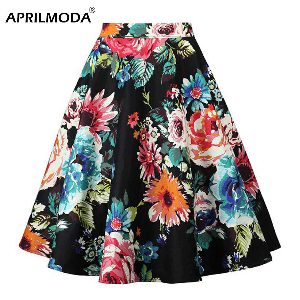 0b7777082a 2019 Retro Vintage Plus Size Swing Skirt Floral Pleated Femme Flowers Print  Midi Skirts Womens High