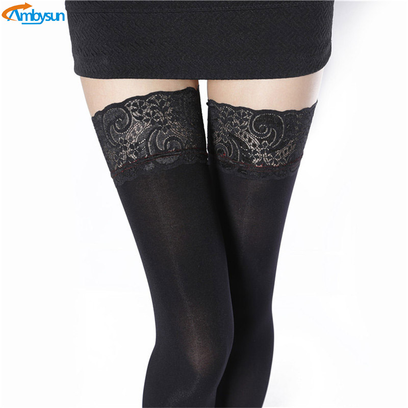 Women Sexy Thigh High Sheer Transparent Opaque Stockings with Lace Top Over The Knee Nylon Stockings Seam Tights Hosiery