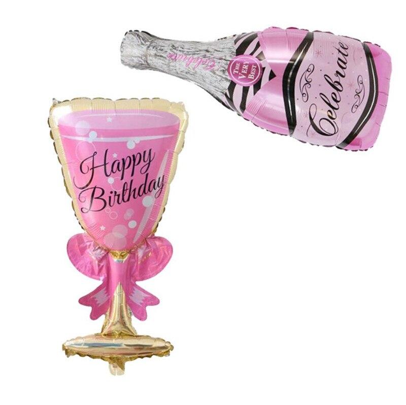 Cartoon Hat Champagne Glass Balloons Birthday Party Decoration Balloon Wine Bottle Goblet Shape Aluminum Film Balloon