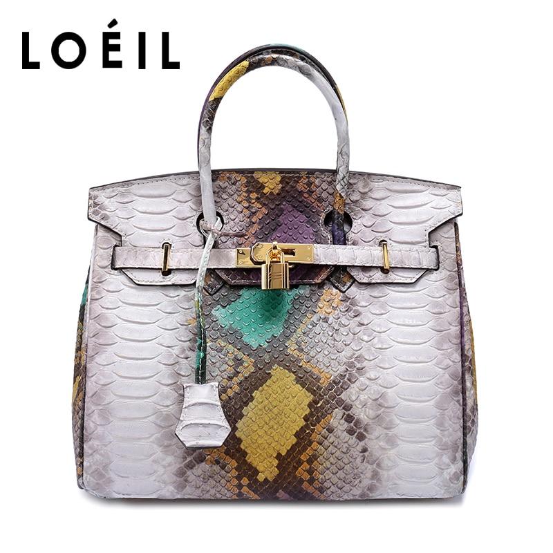 LOEIL ladies bag Serpentine Cowhide leather shoulder bag women Crossbody Bags Fashion Women Handbags все цены