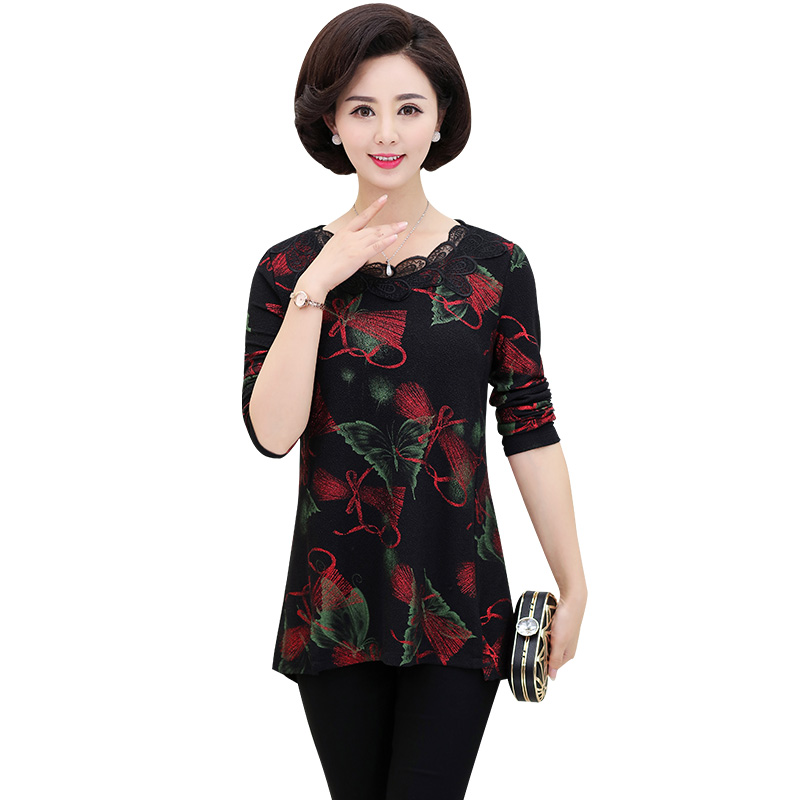 Floral Printed Women Pullover Bottoming Shirt 2019 Spring Autumn New Middle Age Mother Long Sleeve T-shirt Plus Size O-Neck Top