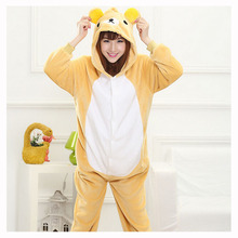 Adult Rilakkuma Kigurumi Onesie Women Pajamas Flannel Warm Loose Soft Sleepwear Onepiece Winter Jumpsuit Cosplay(China)