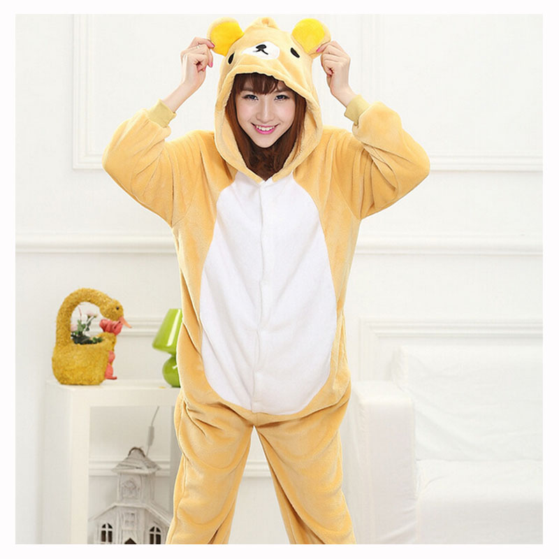 Adult Rilakkuma Kigurumi Onesie Women Pajamas Flannel Warm Loose Soft Sleepwear Onepiece Winter Jumpsuit Cosplay