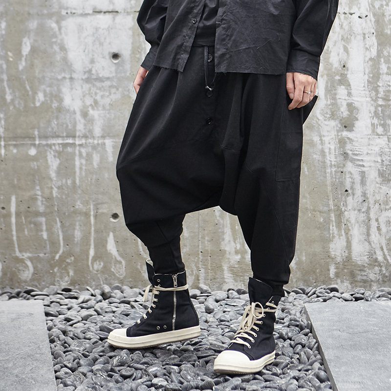 Men Japan Style Loose Casual Down Crotch Harem Pants Male Streetwear Hip Hop Gothic Trousers Male Joggers Sweatpants Dark-in Cross Pants from Men's Clothing    1