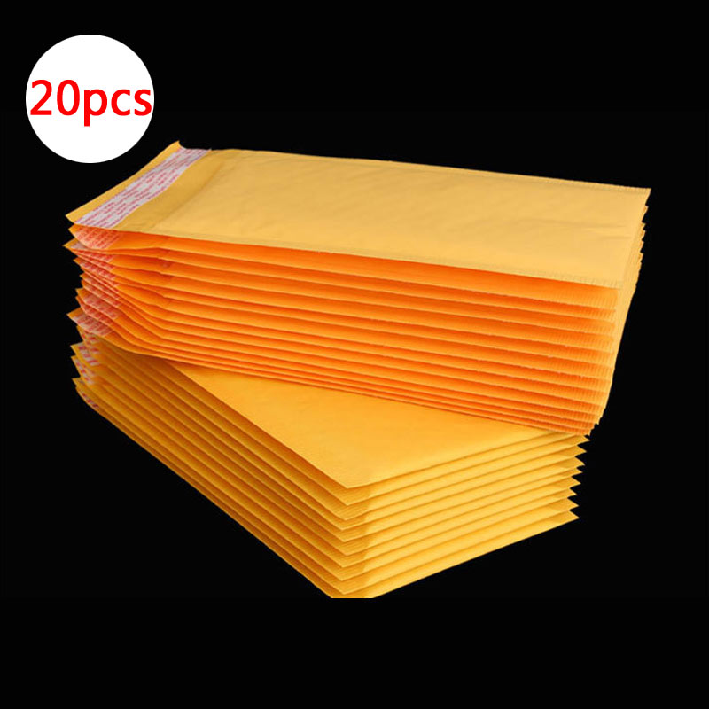 20pcs Mailing Bags Window Envelopes Bag Moistureproof High Quality Kraft Paper Seal Yellow Stationary Paper Envelopes