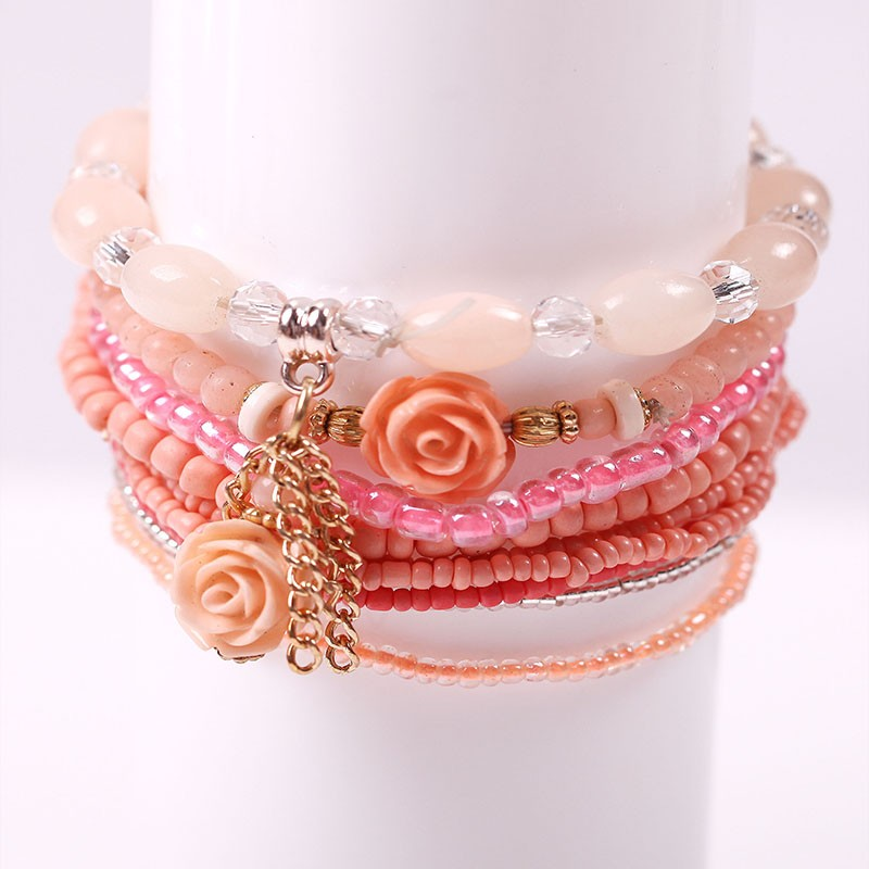 Multilayer Permen Warna Kristal Beads Gelang Set Untuk Wanita - Perhiasan fashion - Foto 4