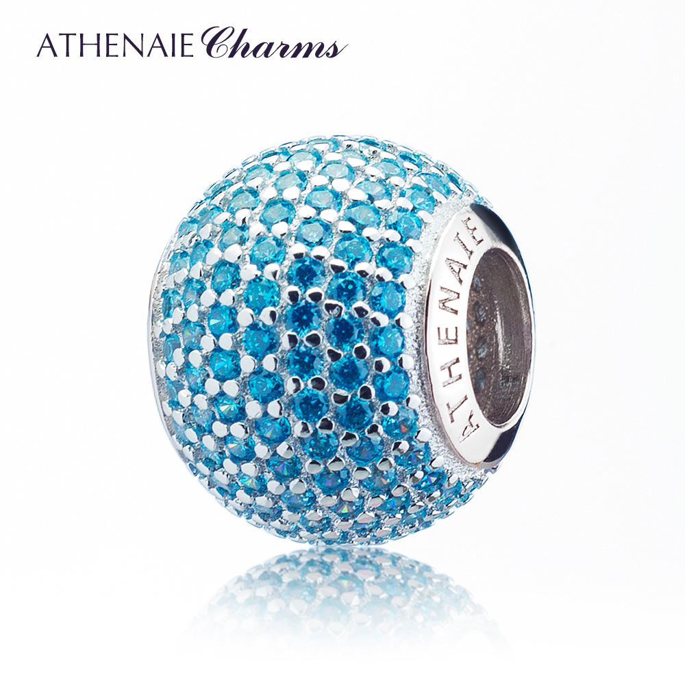 ATHENAIE 3 Colors Genuine 925 Silver with Pave Blue CZ Ocean Love Charm Beads Fit All European Bracelets NecklaceATHENAIE 3 Colors Genuine 925 Silver with Pave Blue CZ Ocean Love Charm Beads Fit All European Bracelets Necklace