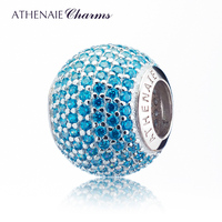 ATHENAIE 925 Silver Plated Platinum With Pave Blue CZ Ocean Love Charm Fit All European Bracelets