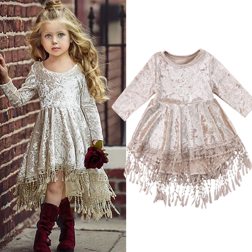 Vintage Princess Kids Baby Flower Girls Dress Velvet Tassel Party Dress Gowns Платье