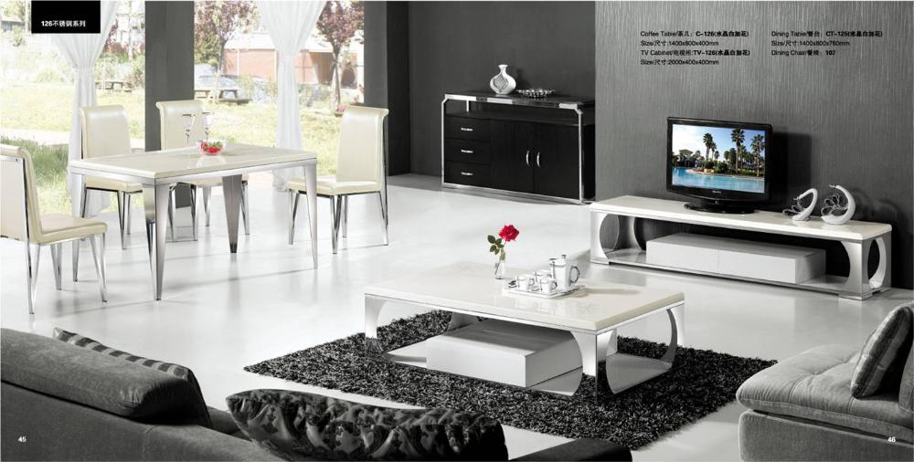 Modern White Marble And Stainless Steel 3 Piece Furniture Set Coffee Table Tv Cabinet