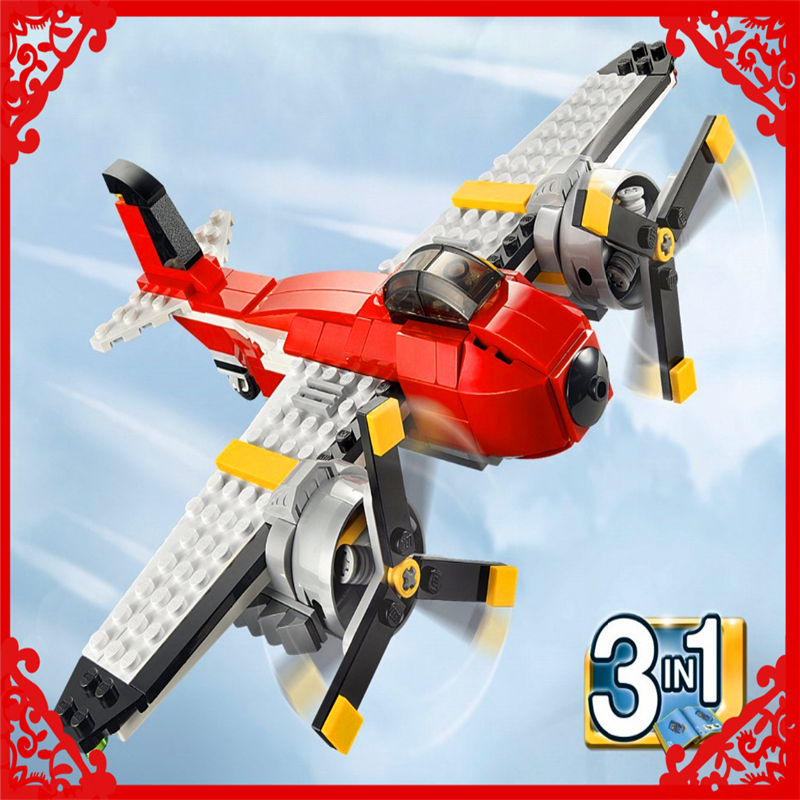DECOOL 3111 City 3In1 Creator Propeller Adventure Building Block Compatible Legoe 241Pcs  Educational  Toys For Children decool 3118 city 285pcs architect changed 3 in 1 space shuttle explorer building block diy toys educational kids gifts