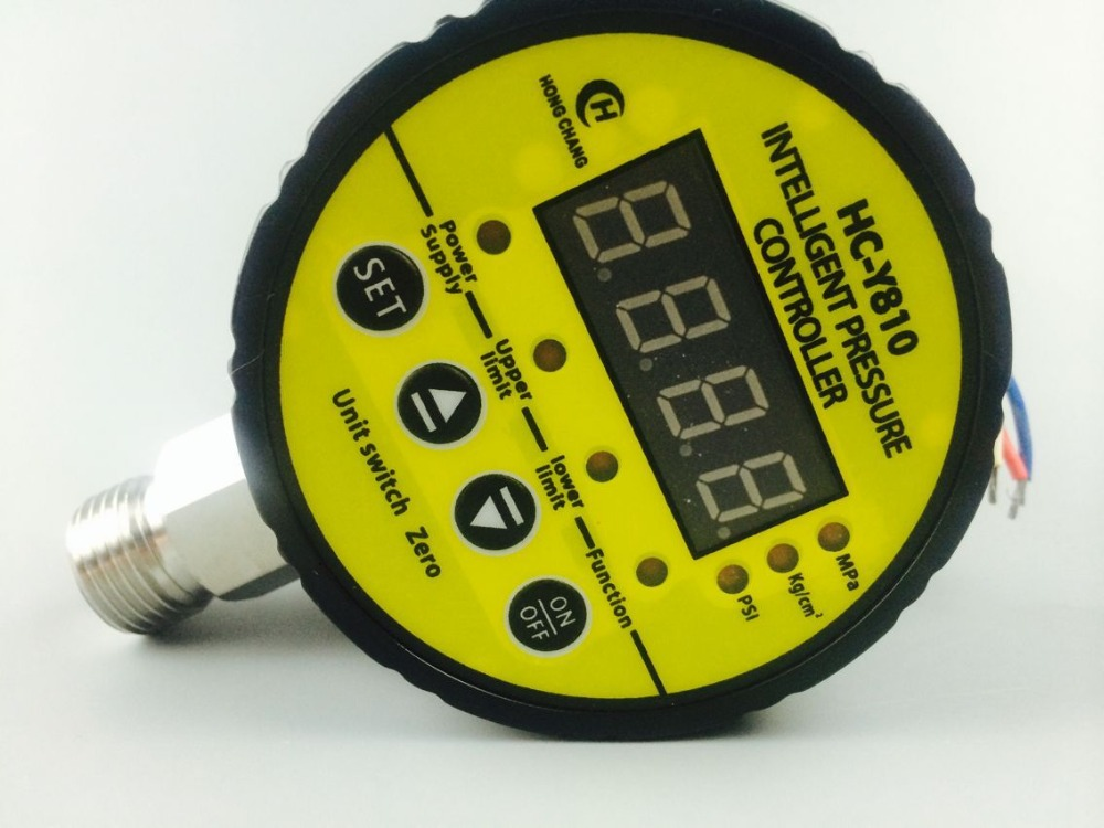 AC220V 5 MPA Digital electric contact pressure gauge digital pressure gauge radial leakage short circuit protection  ynxc 60 2 5 shock proof magnetic help 60mm oil liquid filled electric contact pressure gauge manometer lower mount bottom