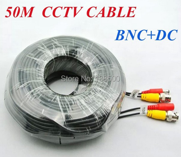 ФОТО Free Shipping CCTV Cable/ Extension Cable/ BNC With Power DC Plug Video + Power 50M 165FT