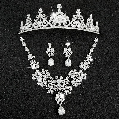 Hot Sale Sliver Plated Rhinestone Crystal Necklace+Earrings+Tiara 3pcs Jewelry Set For Bride Bridal Wedding Accessories (4)