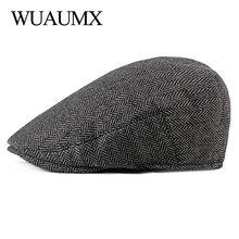 Wuaumx Spring Autumn Tweed Berets Hats Men Women Newsboy Caps Golf Driving Visors Cabbie Herringbone Flat Duckbill Ivy Cap