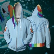 My Little Cosplay Pony Rainbow Dash Anime Hoodie Costume Sweatshirt Jacket Coats Men and Women New