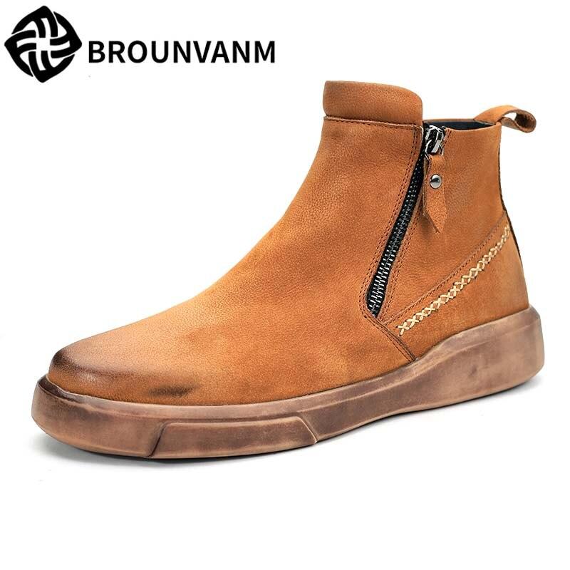 где купить Men's Chelsea Boots British Retro Martin Boots men autumn winter all-match cowhide breathable sneaker fashion casual shoes male по лучшей цене