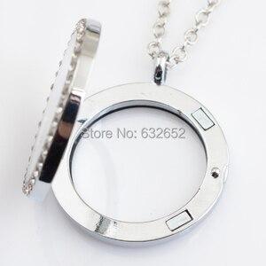 Image 2 - 10 adet/grup 30mm yuvarlak manyetik yüzen madalyon ile rhinestone, ücretsiz 50 55cm zincir FN0005