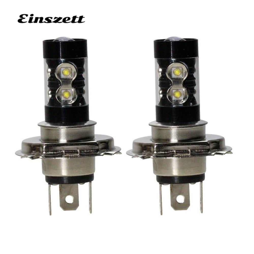 2pcs H4 LED Fog Lamp High Bright White LED HeadLight Bulb DC12V 10SMD 50W DRL Daytime