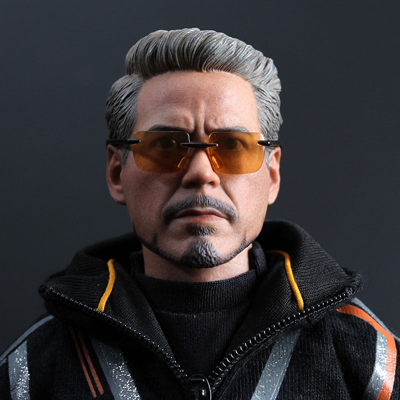 MK100 Tony Stark Doll Head Carved Glasses Seamless Flexible Body 1/6 Action Figure Scale Model Accessories