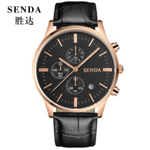 Relojes hombre Men Luxury Top Brand SENDA Quartz Watch Mens Wrist Watch chronograph Date Luminous Sport Leather Leisure watch