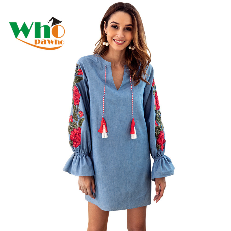 Women's Denim Blue Drawstring V - Neck Embroidered Lantern Long Sleeve Loose Dress Women Party Dress