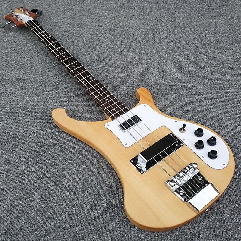 Di alta qualità, Trasparente legno, corpo e il collo sono un pezzo di legno, 4003 bass guitar, foto Reali, trasporto libero!!!