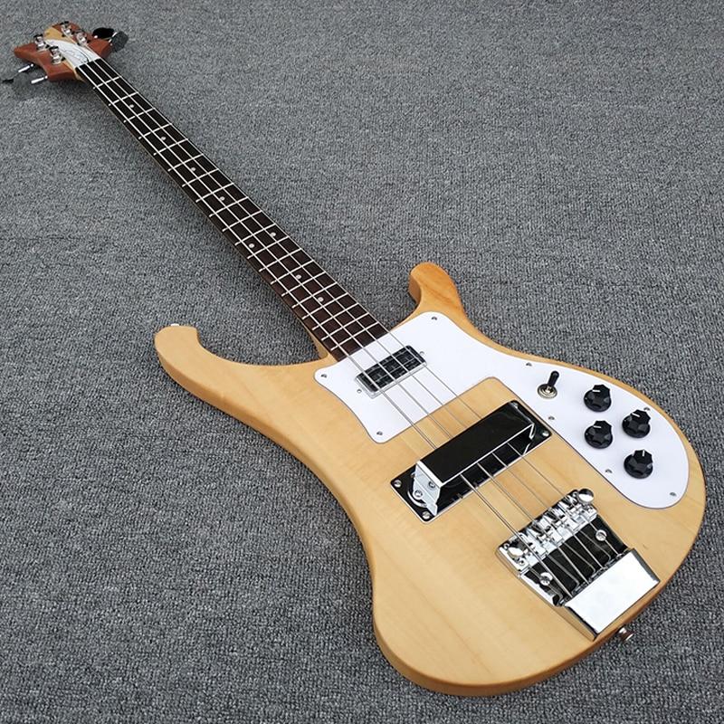 Haute qualité, Transparent bois, corps et le cou sont un morceau de bois, 4003 basse guitare, Réel photos, livraison gratuite!!!