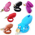 2016 HOT Black Blue Red Pink White Purple 6000S Silicone Male Chastity Device Chastity Cage with Lock+5 Penis Ring J7-2-2