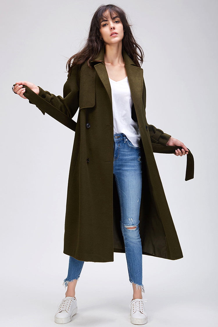 JAZZEVAR 19 Autumn winter New Women's Casual wool blend trench coat oversize Double Breasted X-Long coat with belt 860504 17
