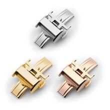 TJP Broche De Reloj de Acero Inoxidable 316L 12mm 14mm 18mm Silver Rose oro Correa Hebilla de Despliegue Para Longine L4 L2 S Con la Palabra