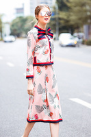 XF 2018 Fashion Runway Two-Piece Spring Summer Dress Women Bohemian Bow Print Button Coat + Floral Print Skirt Jacquard 2 Sets 2