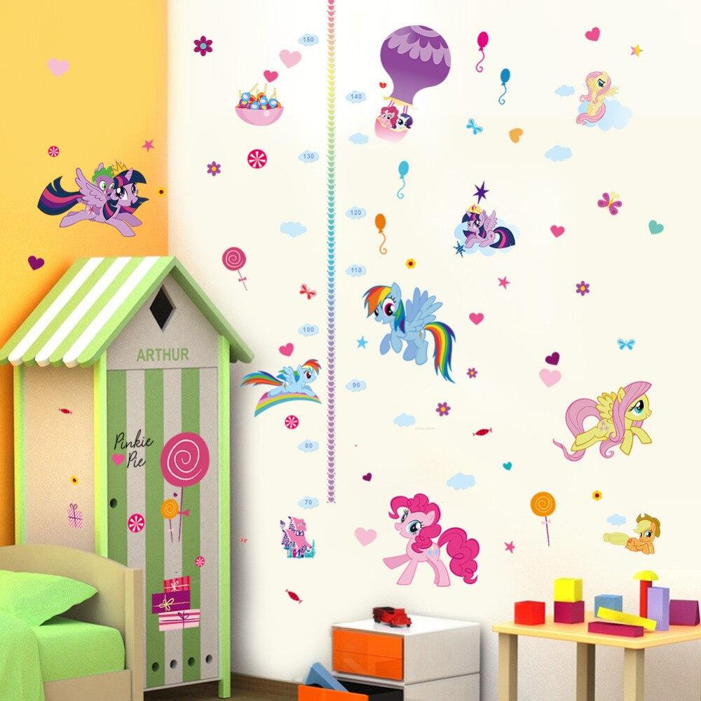 Diy Cartoon Horse Height Measure Growth Chart Wall Sticker For Kids
