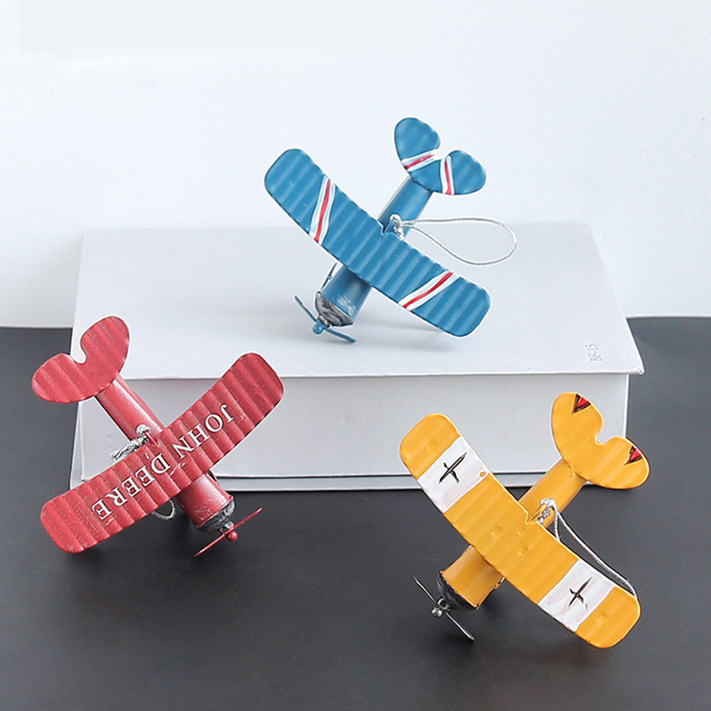 Vintage Biplane Model Mini Figurines Toys For Children Metal Iron Air Plane Model Aircraft Children Room Hanging Decor Kids Gift image