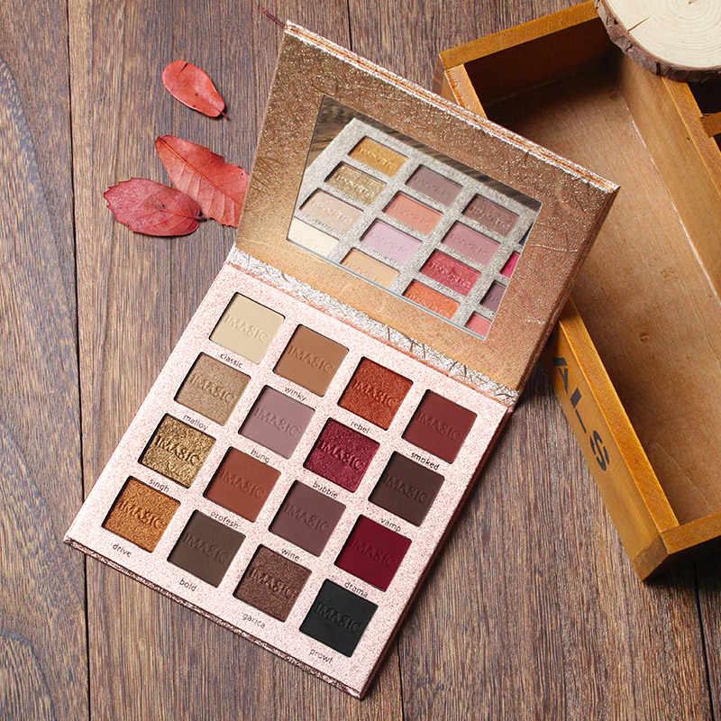 Imagic Shimmer Matte Eyeshadow Palet Nude Emas 16 Warna Mineral Hangat Pigmen Suntikan Glitter Make Up Set Bayangan Mata Kecantikan