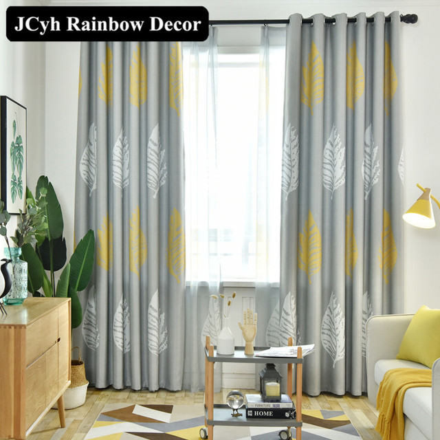 Modern Leaf Blackout Curtains for Living Room Window Curtains for Bedroom Kitchen Drapes Fabric Blinds Home Decor Cortinas Panel