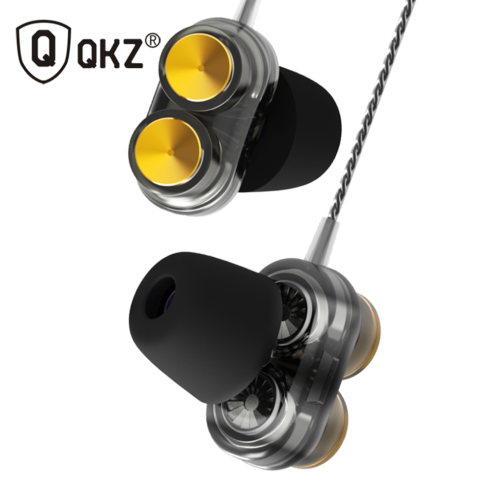 Newest QKZ KD7 Double Unit Drive In Ear Earphone Bass Subwoofer Earphone HIFI DJ Monito Running Sport Earphone Headset Earbud