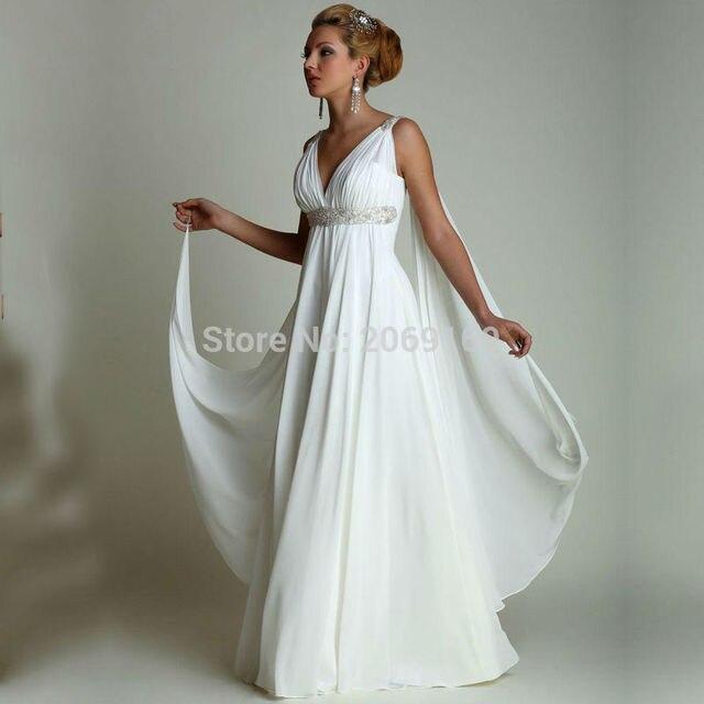 Greek Wedding Dresses: Greek Style Wedding Dresses With Watteau Train 2017 Sexy V