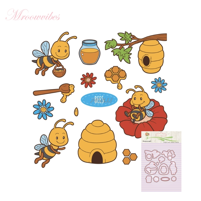 New Honey Bee Silicone Stamp Cutting Dies Stencil Frame For DIY Scrapbook Album Decor G13 Drop ship pig silicone clear stamp metal cutting dies stencil frame scrapbook album decor clear stamps scrapbooking accessories