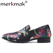 be2d3b162 Merkmak جديد الرجال الجلد المدبوغ المتسكعون الكلاسيكية التطريز نمط الرجال  الشقق أحذية كبيرة الحجم 37-