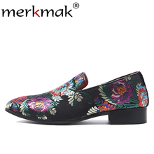 Merkmak New Men Suede Loafers Classic Embroidery Pattern Men's Flats Shoes Large Size 37-48 Comfortable Casual Dress Footwear