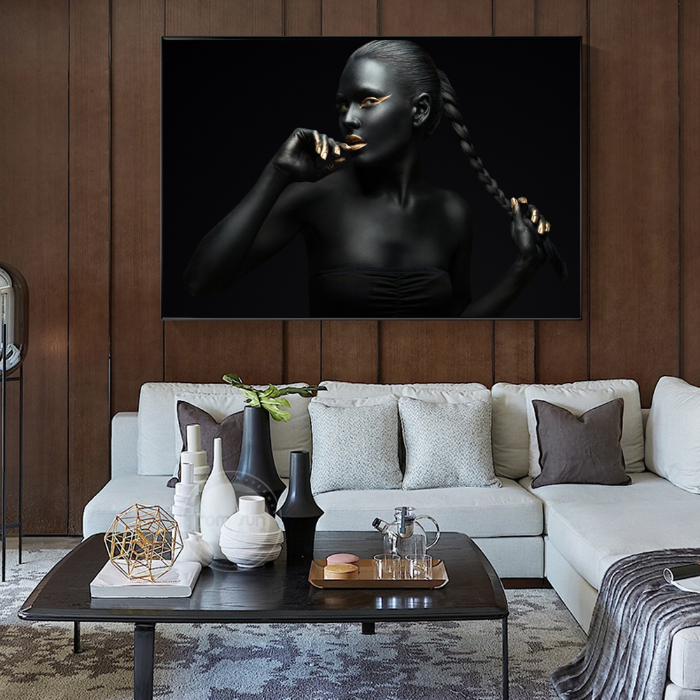 Horny Lady In Black Fashionable Wall Artwork Canvas Prints Golden Lips Canvas Artwork Portray African Lady Posters And Prints Residence Wall Decor Portray & Calligraphy, Low-cost Portray & Calligraphy,...