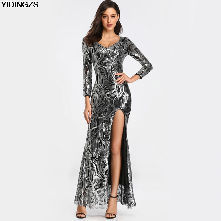Robe De Soiree YIDINGZS Sexy   Evening     Dress   Womens V Neck Slit Long Sleeve Sequins   Evening   Party   Dress