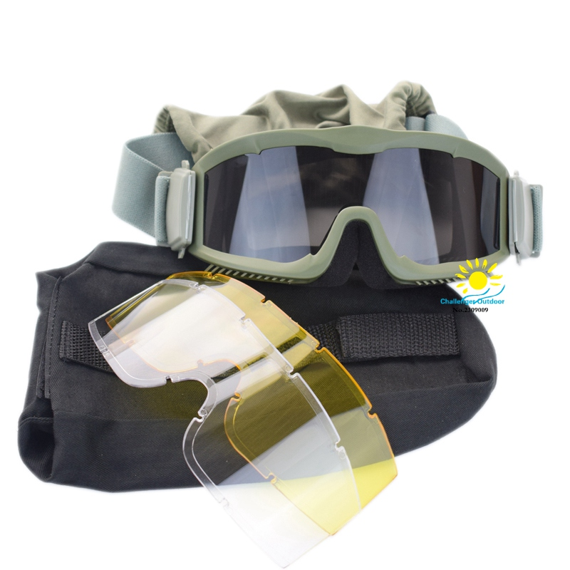 3color Airsoft Combat Military 3 Lins Tactical Goggles Army - Sportsklær og tilbehør