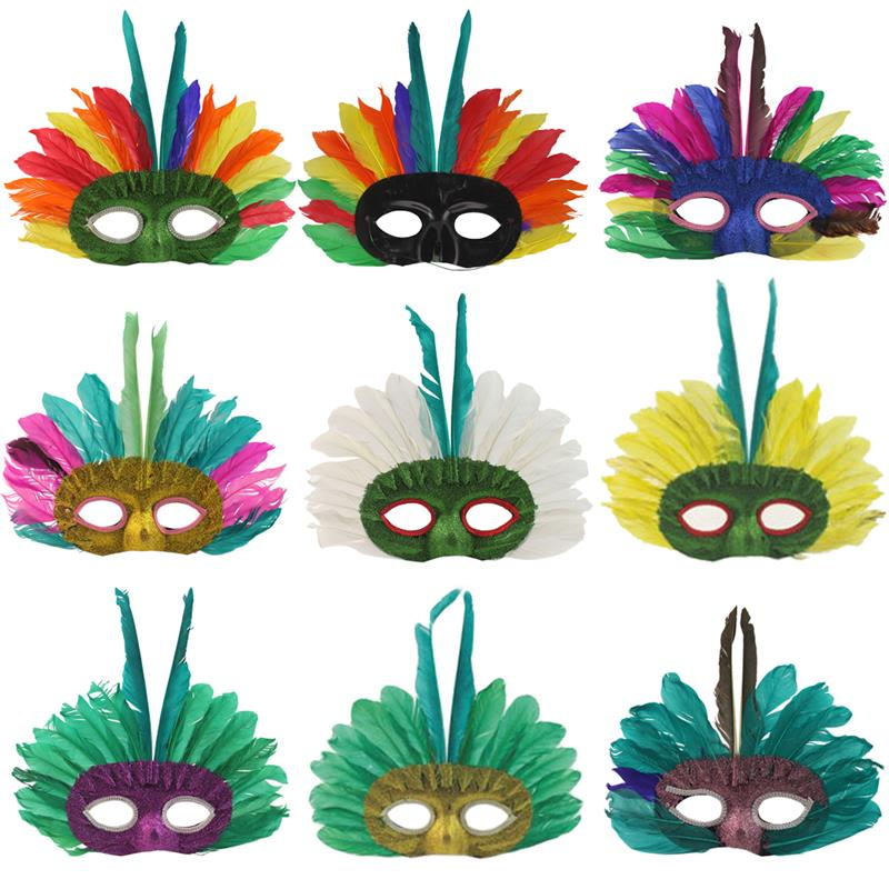 12Pcs Mardi Gras Mask Creative Feather Style Masquerade Mask Party Mask for Mardi Gras Carnival