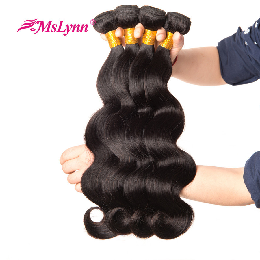 Mslynn Hair Body Wave Bundles Indian Hair 100% Human Hair Weave Bundles 8-28 Inch Non Remy Hair Extension 1/3/4 Piece Available Hair Extensions & Wigs Hair Weaves