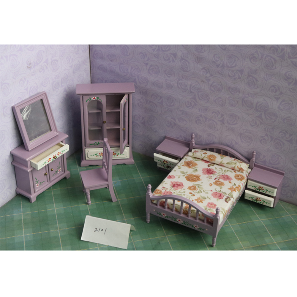 1:12 Dollhouse Furniture toy for dolls Wooden purple Miniature simulation bed bedroom sets pretend play toys for kids girl gifts