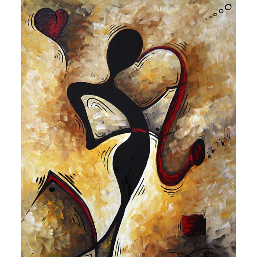 Arte Contemporáneo mujer pintura al óleo abstracta lienzo
