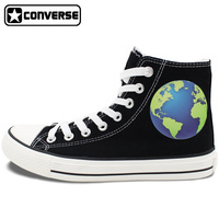 2017 New Converse All Star Earth In The Universe Men Women High Top Black Canvas Sneakers